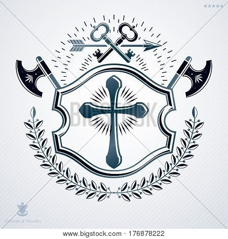 Luxury heraldic vector emblem template made using Christian religious cross and armory