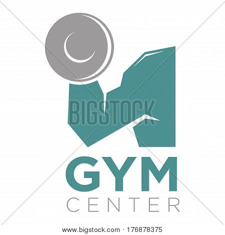 Gym center promotion banner. Big mans arm holds a barbell with sign underneath vector illustration. Place where you can keep fit or become slender by simulators. Make your body strong and athletic.