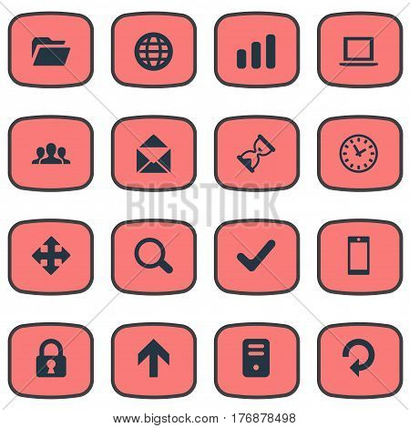 Vector Illustration Set Of Simple Apps Icons. Elements Smartphone, Statistics, Upward Direction And Other Synonyms Watch, File And PC.