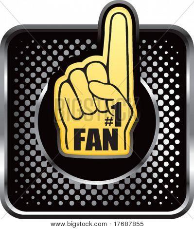 number one fan foam hand on black halftone web button