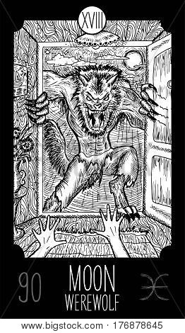Moon. 18 Major Arcana Tarot Card. Werewolf. Fantasy engraved line art illustration. Engraved vector drawing. See all collection in my portfolio set