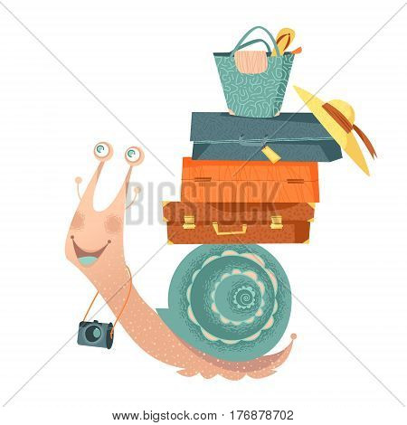 Snail travels with suitcases and a camera. Tourism. Vector illustration