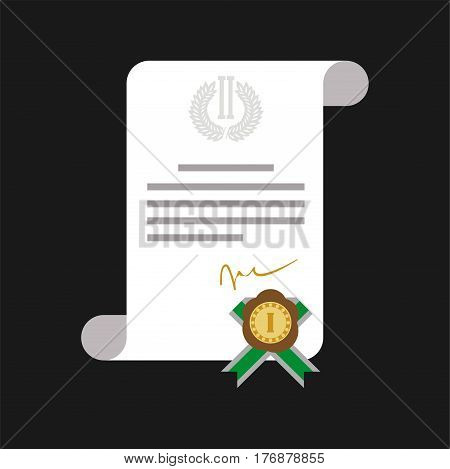 Certificate of honor with gold medal web banner isolated on black. White diploma with text and sign for first place with green ribbon. Vector illustration in cartoon style graphic hand drawn icon