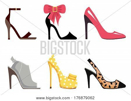 Female footwear set of six different shoes Ankle Strap, Scarpin, Stiletto, Mules, Pump and Slingback shoes on white background. Vector illustration of women s shoes. Fashionable shoes with high heels.