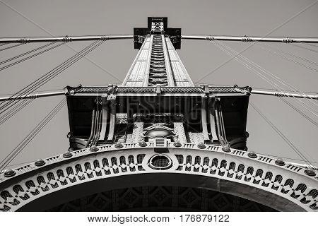 Black and White detail of steel tower of the Manhattan Bridge. Lower Manhattan New York City
