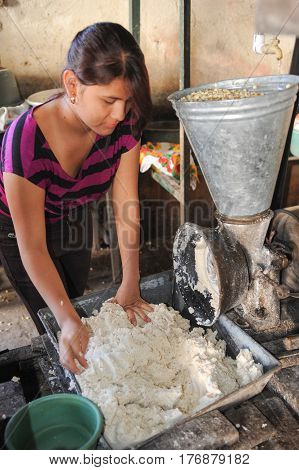 Girl Knead Tortilla Paste At Suchitoto