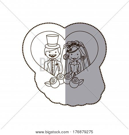married couple inside the heart with roses, vector illustration
