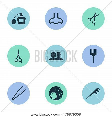 Vector Illustration Set Of Simple Beauty Icons. Elements Crest, Comb, Customers And Other Synonyms Perume, Hairstylist And Shears.