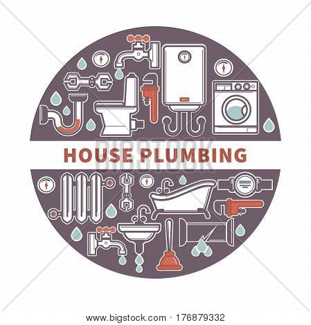 House plumbing firm label for promotion vector illustration elements in purple circle isolated on white background. Home repair services promotion poster. Bathroom equipment advertisement logotype