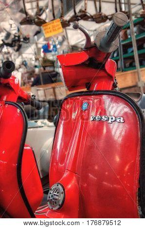 RIMINI , Italy - FEBRARY 12, 2017: Piaggio Vespa 125 px vintage sprint motor scooter motorbike motorcycle
