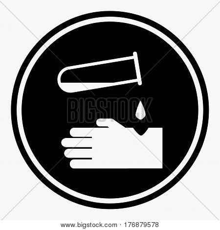 Warning round sign with acid dropping on human skin. Vector colorless illustration in flat design of preventing symbol in circle. Dangerous liquid splitting on person arm, harmful influence