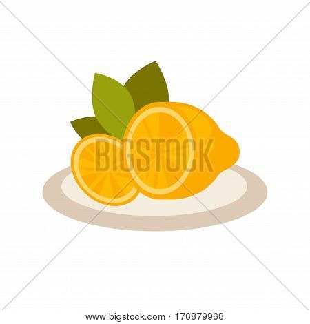 Cut lemon as flavor additive to tea on plate isolated on white background. Citrus fruit for sourish taste of beverage vector illustration. Tropical fetus that contains huge amount of vitamin C.
