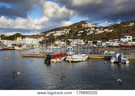 CHORA, GREECE- JANUARY 13, 2017: Boats in the harbor of Ios island in Greece on January 13, 2017.