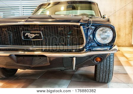 RIMINI , Italy - FEBRARY 12, 2017:Vintage ford mustang 289 vintage car stands parked