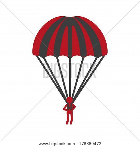 Red person flying with striped parachute graphic icon on white background. Guardian angel with black and red stripes. Vector illustration in cartoon style of parachutist jumper for infographics