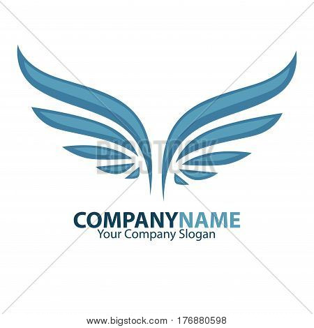Company name and wings logotype vector illustration. Place for your slogan. Business firm promotion poster with flying emblem. Symbol of win, reliable protection and endless freedom feather element