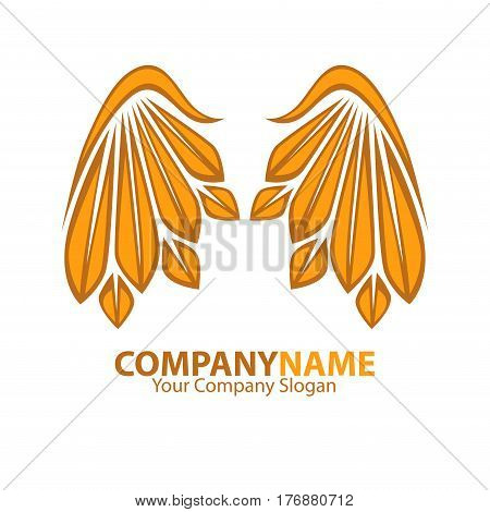 Company name emblem with golden angel wings web banner on white background. Vector illustration with partnership slogan and yellow plumage. Drawn icon for infographics, websites and mobile app.