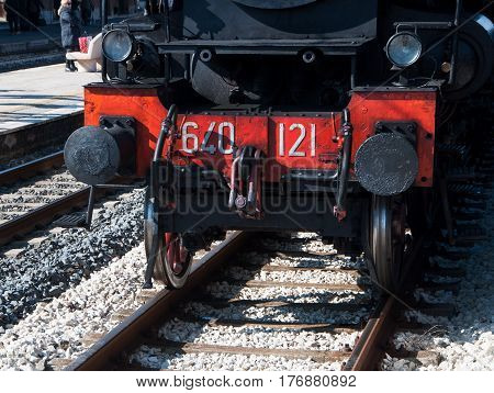 Fano, Marche, Italy - feb 19, 2017: Vintage Steam Locomotive at the station in fano italy