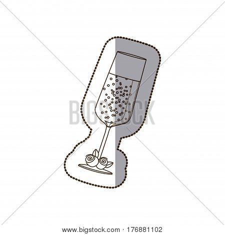 glass of champagne with roses icon, vector illustration design