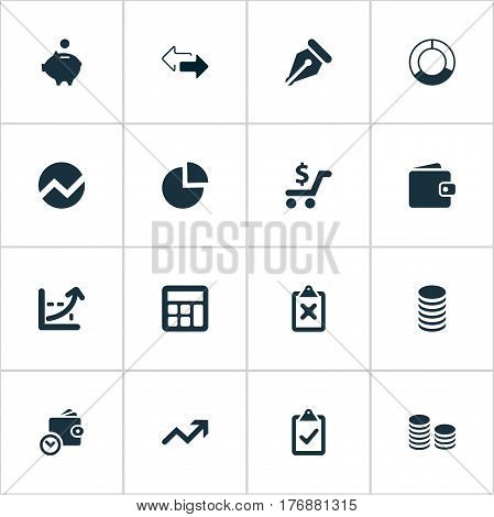 Vector Illustration Set Of Simple Financial Icons. Elements Earnings, Rate, Two Directions And Other Synonyms Supervision, Percent And Math.