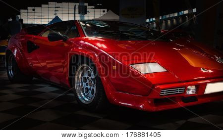 RIMINI , Italy - FEBRARY 12, 2017: Vintage red lamborghini  logo vintage car stands parked