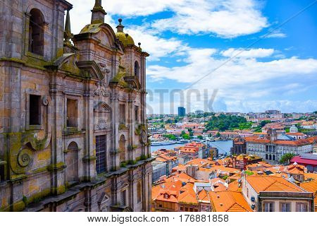View of colorful Porto's city center with Duoro river from Igreja dos Grilos