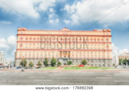 Defocused Background Of Lubyanka Building, Kgb Former Headquarters, Moscow, Russia