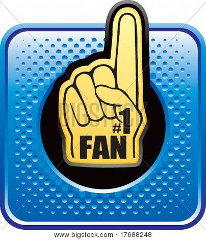 number one fan foam hand on blue halftone web button
