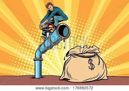 Businessman closes the tap oil pipe, a bag of money. Pop art retro comic book vector illustration