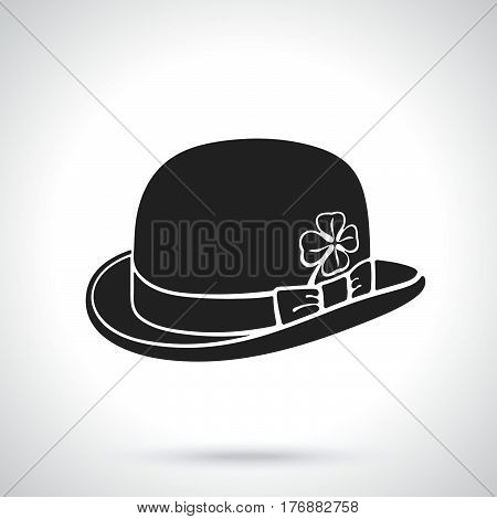 Vector illustration. Silhouette of bowler hat with clover. Saint Patrick's Day symbol. Patterns elements for greeting cards wallpapers