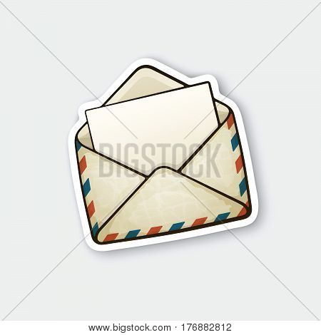 Vector illustration. Opened vintage mail envelope. Incoming message has been read. Sticker in cartoon style with contour. Decoration for greeting cards patches prints for clothes badges posters emblems