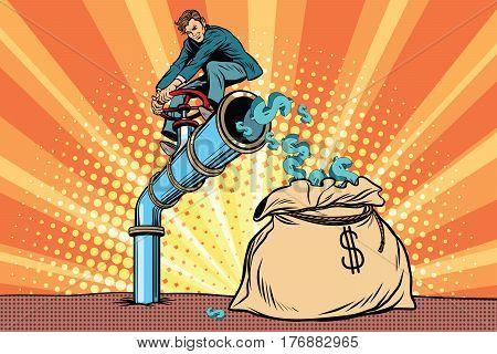 The financier sitting on cash tube. Pop art retro comic book vector illustration