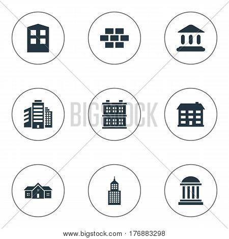 Vector Illustration Set Of Simple Construction Icons. Elements Superstructure, Stone, Residence And Other Synonyms Domicile, Hut And Edifice.