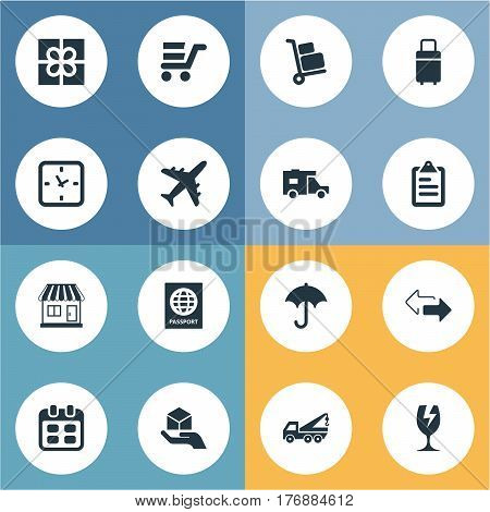 Vector Illustration Set Of Simple Carting Icons. Elements Passport, Gingham, Caravan And Other Synonyms Passport, Shop And Store.