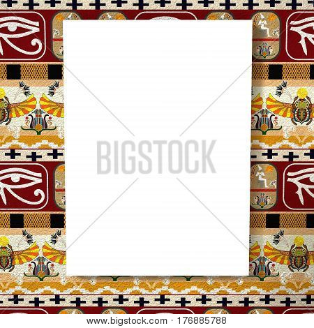 Bright white canvas on a bright background with the silhouette of the Egyptian ancient man. Tribal background. 3d rendering.