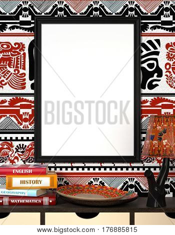 Mock up interior. Book on a wooden table. Bright African plate and the lamp with traditional ornaments. Wooden frame with blank canvas on a bright background with tribal ornaments. 3d rendering.