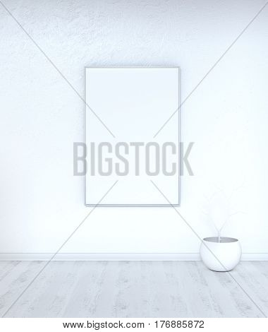 The minimalist white mock up with a blank frame an aquarium and a dry twig. 3D illustration