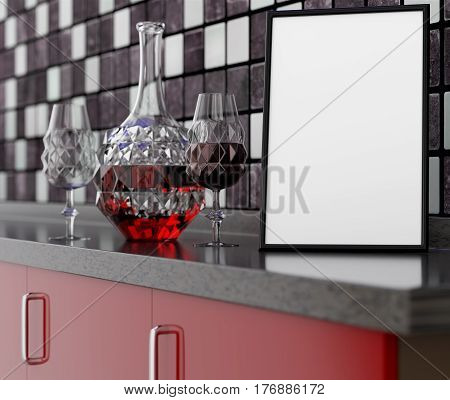 3D illustration of an empty kitchen table with a clean frame Carafe wine glass on a mosaic wall background