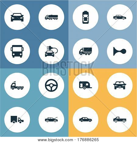 Vector Illustration Set Of Simple Auto Icons. Elements Tour Bus, Traffic, Repairing Service And Other Synonyms Transportation, Sedan And Wagon.