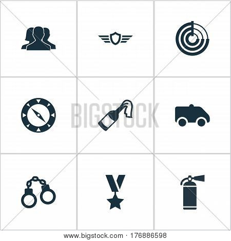 Vector Illustration Set Of Simple Battle Icons. Elements Manacles, Extinguisher, Outcast And Other Synonyms Prison, Smother And Individual.