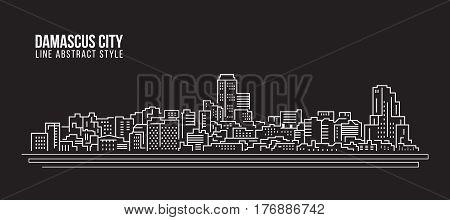 Cityscape Building Line art Vector Illustration design - Damascus city