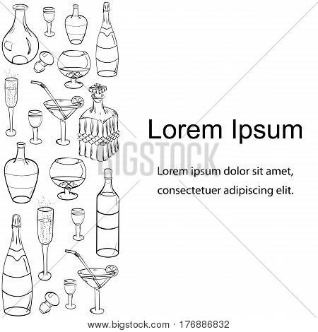 Set of Hand-Drawn Colorful Sketch Glasses Bottles and Glass Decanters on Black. Template for Fliers Banners Badges Menu Stickers and Advertising Actions. Vector Illustration.
