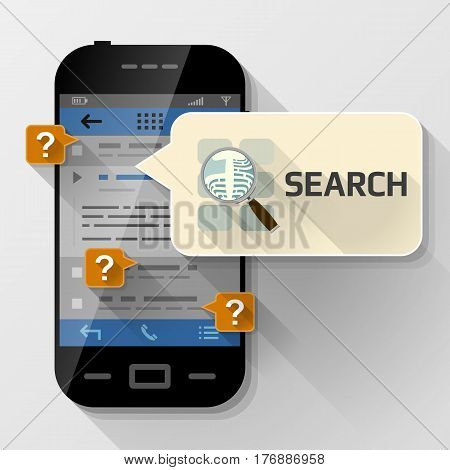 Smartphone with message bubble about search. Dialog box pop up over screen of phone. Vector illustration about smartphone communication mobile technology notification application prompting etc