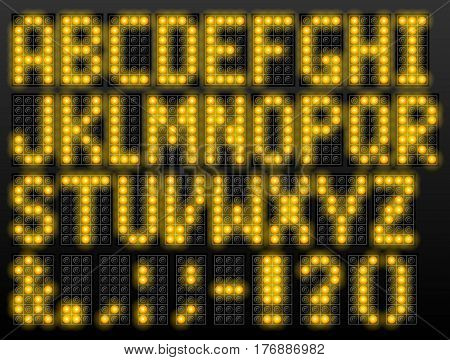 Led digital font based on dot-matrix technology. Alphabet of scoreboard letters and punctuation. Vector typeface for airport schedules display train timetables scoreboard variable message sign
