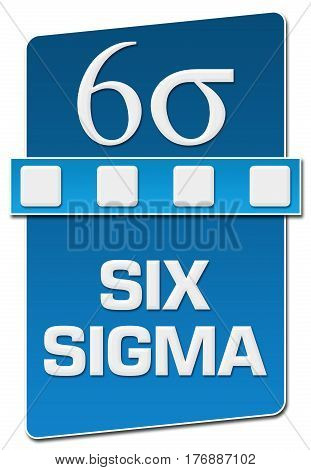 Six sigma text with related symbol written over blue background.