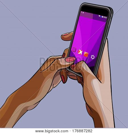 close-up drawn female hands holding the phone