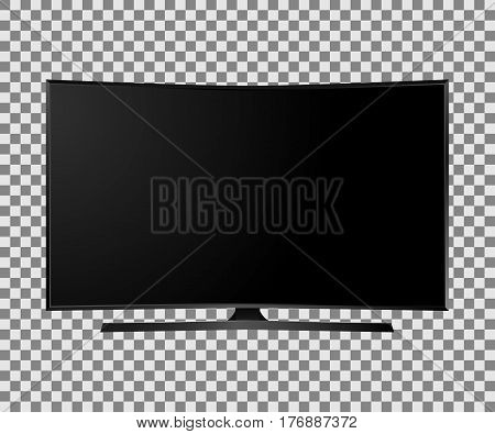 UHD Smart Tv with black curved screen on isolated white background. Vector illustration.