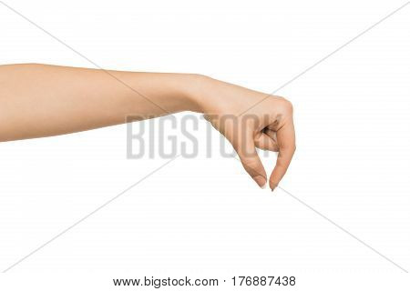 Close-up of female hand removing object , woman's palm making gesture while picking up some items on white isolated background, cutout, copy space