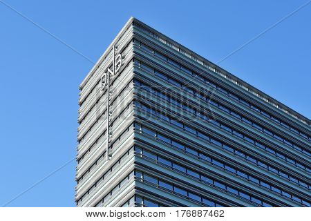 VILNIUS MARCH 16: Office of DnB NORD bank on March 16 2017 in Vilnius Lithuania. DNB A/S The Bank head office is located in Copenhagen while the Bank has operations in Estonia Latvia Lithuania.