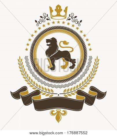 Vintage heraldry design template vector emblem with lion illustration and royal crown